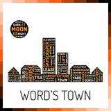Wordcloud nella forma della città Immagini Stock Libere da Diritti