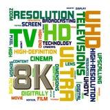 Wordcloud ordetiketter av begreppet 8k vektor illustrationer