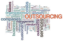 Wordcloud of outsourcing. Illustration of wordcloud related to word outsourcing Royalty Free Stock Image