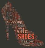 Wordcloud: Schattenbild der Schuhe Lizenzfreie Stockbilder