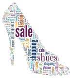 Wordcloud: silhouet van schoenen Stock Afbeeldingen