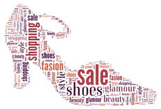 Wordcloud: silhouette of shoes Stock Photo