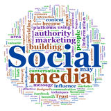 Wordcloud of Social media. Illustration of social media concept. Social Media Wordcloud in circular shape Stock Photos
