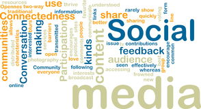 Wordcloud sociale di media Fotografie Stock