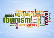 Wordcloud of turism. And travel words Stock Images