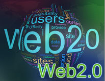 Wordcloud of Web 2.0. Words in a wordcloud of web 2.0. Concept of internet and web site development Stock Image