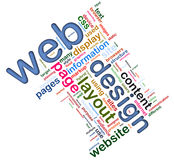Wordcloud of Web design. Words in a wordcloud of related to web designing Stock Photo