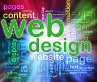 Wordcloud of Web design. Words in a wordcloud of web design. Concept of web designing Stock Image