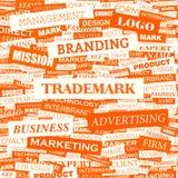 Wordcloudhandelsmerk stock illustratie
