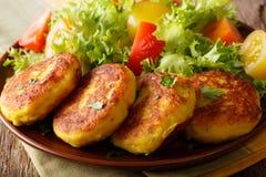 Worden de vers voorbereide aardappelpannekoeken gediend met verse salade CLO Royalty-vrije Stock Fotografie