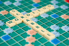 Wordfeud is the app version of scrabble. Wordfeud is the hot and trendy version of scrabble Royalty Free Stock Photos