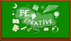 Wording on blackboard saying be creative Royalty Free Stock Photo