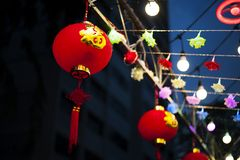Wording of happiness on red lanterns. Wording of happiness on huge red lanterns hanging during Chinese New Year festival Stock Photo