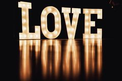 Valentines day background. Blurred letters Love for valentine`s Stock Image