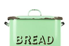 Wording on the side of a vintage 1930s British green enamel bread bin. Potential use as background for recipe / ingredients / bakery price list Royalty Free Stock Photography