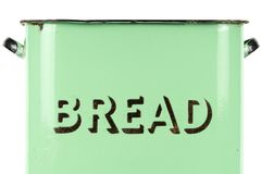 Wording on the side of a vintage 1930s green enamel bread bin. Potential use as background for recipe / menu / ingredients or bakery price list Royalty Free Stock Photography