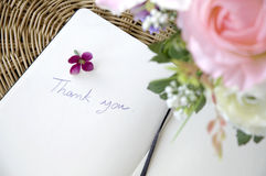 Wording thank you with blossom Stock Image