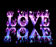 Wordlove in flames in blue and purple. Word love in flames in blue and purple, with reflection on black background Stock Photo