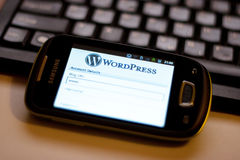 WordPress app móvel Imagens de Stock