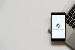Wordpress logo on smartphone screen Stock Photos