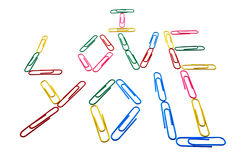 Words. I love you from office paper clips Royalty Free Stock Images