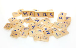 Words. Wooden letter blocks isolated on white background stock photos