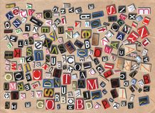 Words. Designed background. Digital collage made of newspaper clippings Stock Image