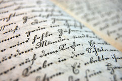 Words. Detail of a handwritten book from the 19 th century Royalty Free Stock Photos