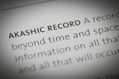 The words Akashic Record close up on paper Stock Photography