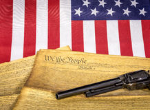 Words of the American constitution and pistol Stock Photo