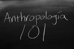 Antropología 101 On A Blackboard Royalty Free Stock Photos