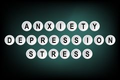 Words Anxiety, Depression and Stress written on buttons. Black and green abstract background. Vector illustration banner board border card comments concept royalty free illustration