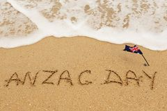 Words Anzac day on the sand Royalty Free Stock Photography