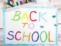 Words BACK TO SCHOOL Royalty Free Stock Photos