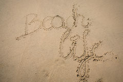The words beach life written in the sand Royalty Free Stock Images