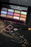 Words beauty with eyeshadow Stock Photos