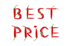 Words BEST PRICE written with red chili peppers Stock Photo