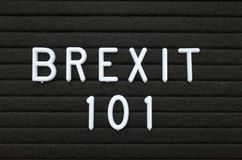 The phrase Brexit 101 in white text on a letter board Stock Photography