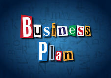 The words Business Plan made from cutout letters. On a blue background Royalty Free Stock Images