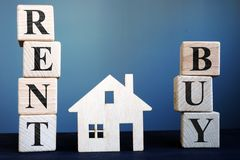 Words buy or rent and model of house royalty free stock photography