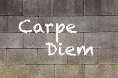 Carpe Diem. The words Carpe Diem, meaning Seize The Day, on a wall Stock Illustration