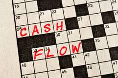 The Words Cash Flow on Crossword Puzzle. In Red Ink, Copy Space Royalty Free Stock Images