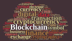 Words cloud with Blockchain. Royalty Free Stock Photos