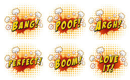 Words on cloud explosions. Illustration Royalty Free Stock Photography