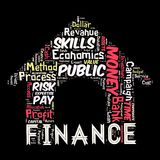 The words cloud of the FINANCE. Illustration to The words cloud of the FINANCE as background Stock Image
