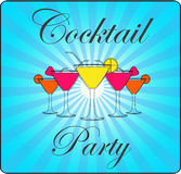 Words cocktail party with blue lines retro background. Royalty Free Stock Photography