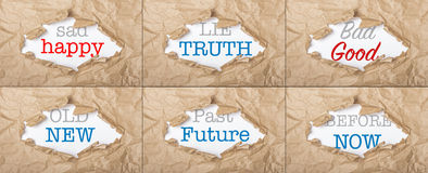 Words collage on cardboard background Stock Photography