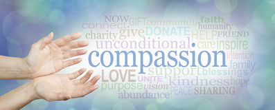 Words of Compassion. Wide banner with a woman's hands in an open needy position with the word COMPASSION to the right surrounded by a relevant word cloud on a royalty free stock photos
