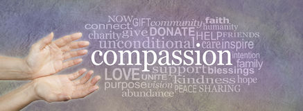 Words of Compassion Word Cloud banner. Wide banner with a woman's hands in an open needy position with the word COMPASSION to the right surrounded by a relevant royalty free stock images
