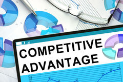 Free Words Competitive Advantage On Tablet. Stock Photo - 55858610